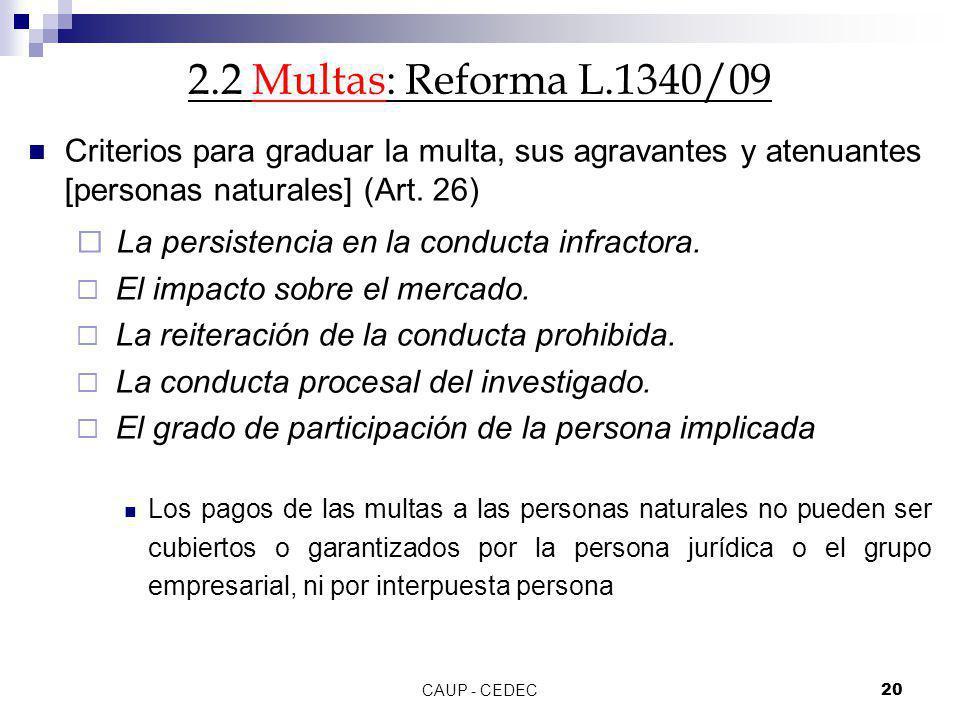 2.2 Multas: Reforma L.1340/09 Criterios para graduar la multa, sus agravantes y atenuantes [personas naturales] (Art. 26)